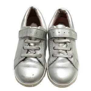 Jacadi Metallic Silver Leather Sneakers